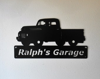 Man Cave Personalized Classic Ford Truck Garage Sign Satin Black