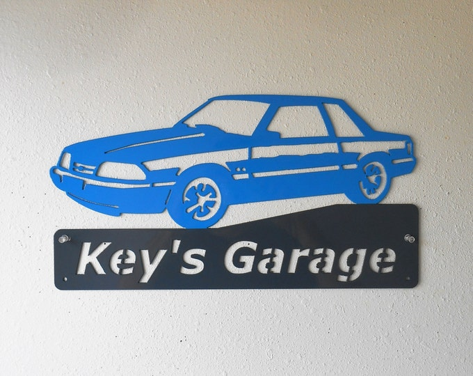 Ford Mustang Fox Body - Man Cave - Garage Sign - Satin Black - Personalized Sign - Metal Art - Car Art