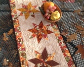 Hello Autumn 16x47 quilted table runner of stars in bright fall colors