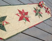 DISCOUNTED Christmas Stars 13x51 quilted table runner with shimmer