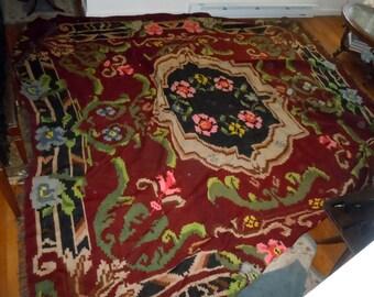 Antique Large Wool Kilim woven Rug Floral