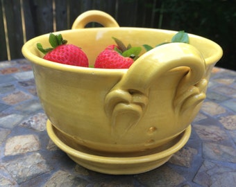 Ceramic Berry Bowl, Small Colander in Marigold Yellow