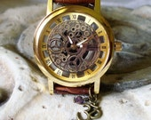 Steampunk Watch Gold on Gold - See Thru Dial - Looks Like Mechanical Wrist Watch - Skeleton Dial   A 371