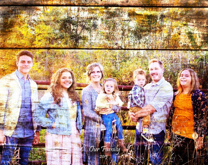 REAL WOOD Family Portrait Custom Wood Anniversary Gift Wedding Decoration or Wedding Anniversary Gift 16x20