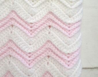Crochet Baby Blanket Handmade Girls White Pink Chevron Striped Knit Stroller Blanket 34 x 30 Inches