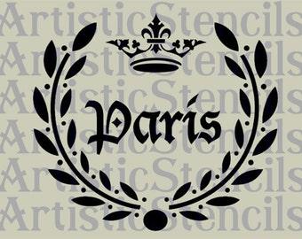 STENCIL Paris Laurel Wreath with Crown  10x9