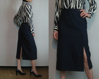 60s 70s NAVY WOOL ASYMMETRICAL vtg High Waisted Wiggle Pencil Skirt Wool Blend  Small 1960s 1970s