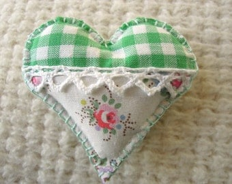 Heart Brooch Fabric Applique Green Gingham/Cath Kidston Fabric
