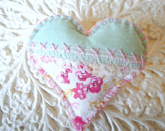 Heart Brooch Ditsy Floral Mint Green/ Pink Fabric