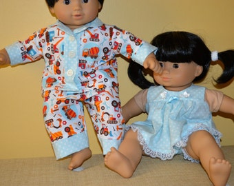 15 Inch Twin Baby Dolls Cotton Pajama Sets by SEWSWEETDAISY