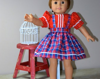 18 Inch Doll Clothes Red Polka Dot Short Sleeve Blouse and Red White and Blue Plaid Gathered Skirt with Suspenders by SEWSWEETDAISY