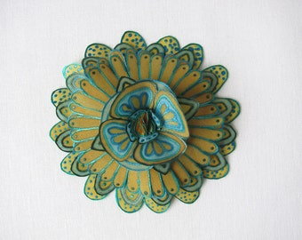 Hand painted silk flower brooch - mustard and teal