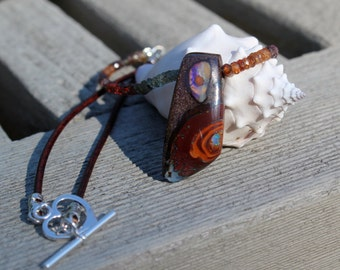 SALE -Yowah Nut boulder opal and sapphire necklace on leather by EvyDaywear