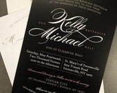"Modern Romantic Elegant Wedding Invitation Set - ""The Kelly"""