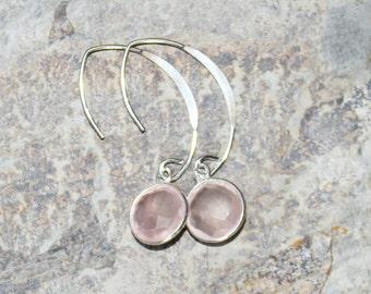 Rose Quartz Earrings, Gemstone Earrings, Pink Earrings, Sterling Silver Earrings, Modern Earrings, Rose Quartz Jewelry, Handmade Earrings