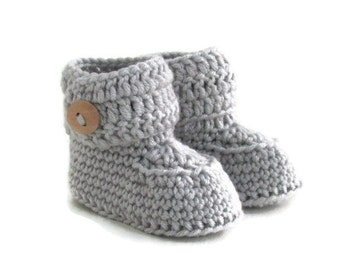 Gray Baby Booties, Knitted Baby Booties, Knit Baby Booties, Crochet Baby Booties, Cashmere Merino Wool, Baby Gift Warm and Woolly on Etsy