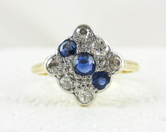 Art Deco Diamond & Sapphire Square Engagement Ring. Panel Triple Row Blue Sapphire and Old European Cut Diamond Ring, 18 Carat Platinum.