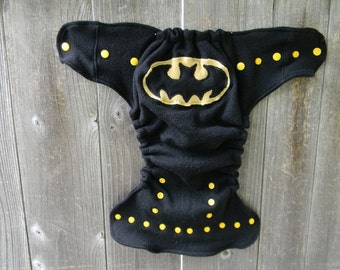 Upcycled Merino Wool Nappy Cover Diaper Wrap Cloth Diaper Cover One Size Fits Most Black With Batman Applique/ Black
