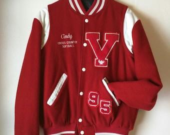 retro Vintage Letterman's Jacket / Red / Vicksburg / Bulldogs / V / 90's / Girls / Women's Jacket / Varsity Jacket / Coat / CINDY MVP
