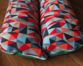 Dog Bed, Dachshund, Dog Burrow Bed, Bun Bed - TheOminousCloud - Modern Geometric Multi Color Triangles and Emerald Green
