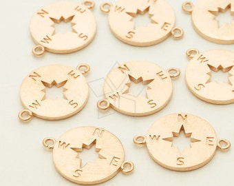 PD-1207-MR / 2 Pcs - Compass Sideways Pendant for Bracelet, Matte Rose Gold Plated over Brass / 11mm