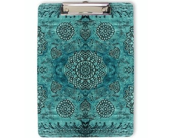 Boho Clipboard, bohemian, teal clipboard, flat clip clipboard, clip board, office accessory, office supplies, office gift