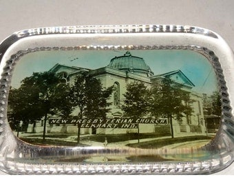 New Presbyterian Church Elkhart Indiana in Clear Glass USA Paperweight Office Supplies Paper Handling Paperweights