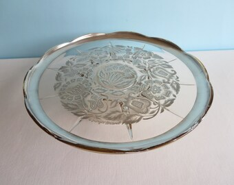 Georges Briard Silver Pedestal Serving Plate - Silver Damask Pattern - Cake Plate - Appetizer Plate