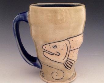 Handmade Pottery Mug with Rainbow Trout, Soda Fired Porcelain, Ceramic Fish Art, Fishing Gifts, Carved Mishima Coffee Mug, Slip Inlay, 16 oz