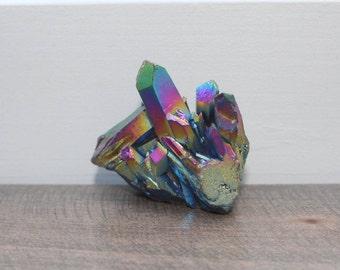 Rainbow Aura Quartz, Crystal Cluster, Titanium Coated, Aura Quartz, Aqua Aura Cluster, Gemstone, Crystal