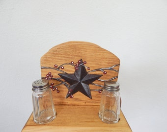 Napkin Holder, napkin and salt and pepper shaker holder, wooden napkin holder, primitive napkin holder, primitive kitchen decor