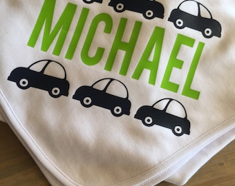 Baby blanket with cars and name