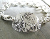 Wildflowers Bracelet, Fine Silver, Natural Plant Reproduction, Artisan Original and Exclusive by SilverWishes, Recycled Silver