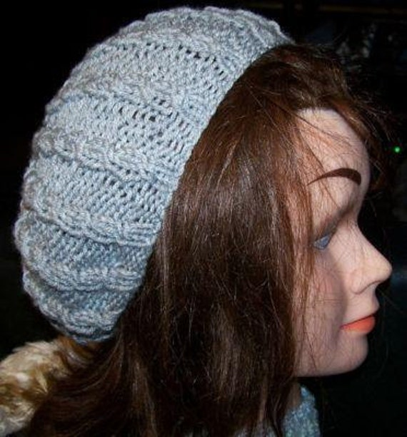 Slouchy Cable Knit Beret Beanie Tam Hat PATTERN Knitting from NovaBlondie on ...