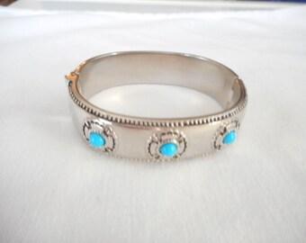 Vintage Silver Tone  Faux Turquoise Bangle Hinged Bracelet