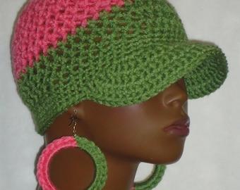 Made to Order AKA Alpha Kappa Alpha Crochet Baseball Cap Hat with Earrings by Razonda Lee Razondalee