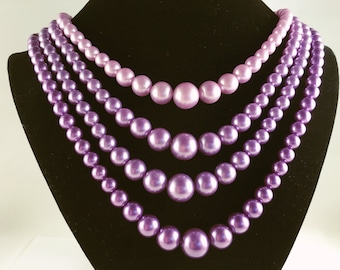 Multi Strand Pearl Necklace, Vintage Jewelry, Four Strand Purple Necklace, Purple Vintage Necklace, Ombre Necklace Faux Pearl Retro Necklace