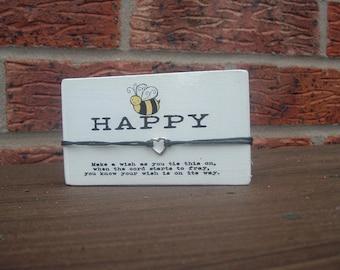 Wish Bracelet Sign Plaque Be Happy