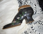 Pin Cushion wood Black high heel shoe hand painted with flowers (FFs1113)