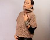 Knit Sweater Poncho, Beige Cape Sweater, Turtleneck Sweater, Poncho Cape, Grunge Pullover, Chunky Cowl Sweater, Warm Merino Wool Alpaca