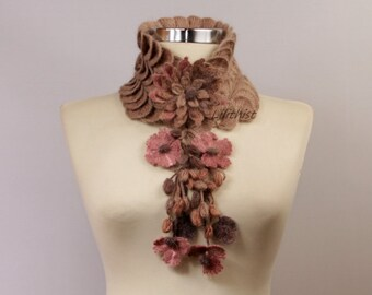 Crochet Scarf, Crochet Infinity Scarf, Flower Scarf, Cowl Scarf, Neck Cowl, Infinity Cowl, Crochet Collar Bib, Brown Pink, Gift Idea For Her