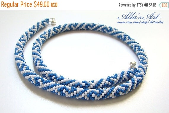 ON SALE Blue and white crochet seed bead choker rope