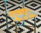 Kids Vintage Metal School Chair - 1950s - Vibrant Colors - Blue