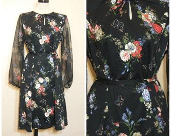60s 70s Black Floral Dress Large Sheer Sleeves Tie Waist Retro Vintage