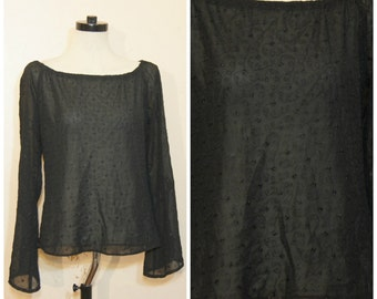 90s Sheer Black Top Bell Sleeves Floral Embroidery Goth Witchy Boho