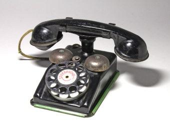Vintage Black Metal Toy Telephone,Speed Phone by Gong - Circa 1940's