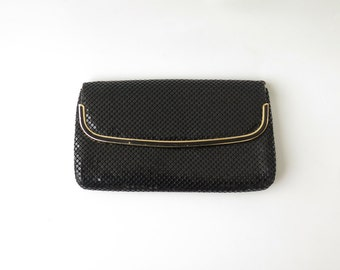 Free Shipping. Glitter Dequins Black Clutch Purse Evening Metallic Mesh Clutch