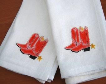 Western Boots Napkins, Flour Sack Cotton, Rodeo Theme Napkins,Ranch Gift Napkins, Set of 2 Napkins, Western Theme Gift, Horse Barn Napkin