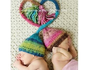 Knit Baby Twin Hats, Newborn Twins, Baby Elf Hat, Knit Baby Elf Hat, Baby Boy Hat, Baby Girl Hats, Stocking Hat, Newborn Photo Prop