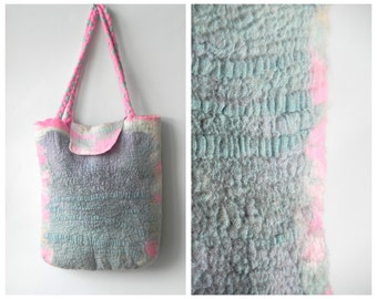 Pink blue handbag, felt bag, Felted handbag, summer handbag, wool linen bag, tote bag, original bag, gift for her, Ready to send